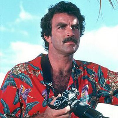 "Photograph of Tom Selleck as ""Magnum PI"""