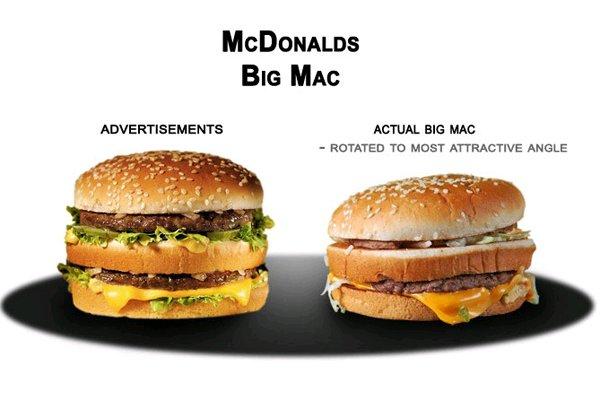 Fast food ads vs reality - Fast good cuisine big mac ...