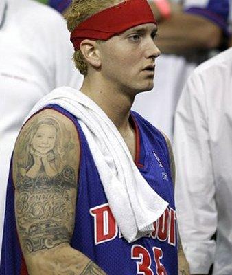 eminem tattoos of hailie. Eminem#39;s shoulder tattoo is a