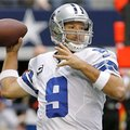 FILE - In this Dec. 23, 2012 file photo, Dallas Cowboys quarterback Tony Romo (9) passes the ball against the New Orleans Saints during the first half of an NFL football game in Arlington, Texas. Romo will miss at least three weeks of offseason workouts after a procedure to remove a cyst from his back. The team's website reported Tuesday, May 21, 2013 that Romo underwent the procedure last month and could return for the mandatory minicamp that starts June 11. (AP Photo/Brandon Wade, File)