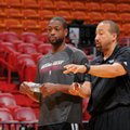 MIAMI, FL - JUNE 19: Assistant Coach David Fizdale speaks to Dwyane Wade #3 of the Miami Heat during practice as part of the 2013 NBA Finals on June 19, 2013 at American Airlines Arena in Miami, Florida. (Photo by Andrew D. Bernstein/NBAE via Getty Images)