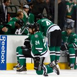 Stars C Peverley collapses on bench