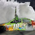 FILE - In this Nov. 22, 2015, file photo, Kyle Busch does a burnout after winning the NASCAR Sprint Cup Series auto race and the season title, at Homestead-Miami Speedway in Homestead, Fla. With four-time champion Jeff Gordon retired and three-time champ Tony Stewart sidelined with a broken back, the NASCAR season begins with a much different look and a new rules package. (AP Photo/Darryl Graham)