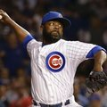 FILE - In this Wednesday, Oct. 21, 2015 file photo, Chicago Cubs pitcher Fernando Rodney throws during the eighth inning of Game 4 of the National League baseball championship series against the New York Mets in Chicago. Reliever Fernando Rodney and the San Diego Padres have completed their $2 million, one-year contract, Thursday, Feb. 4, 2016. (AP Photo/Nam Y. Huh, File)