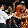 Iowa State guard Georges Niang, right, celebrates with head coach Steve Prohm following an NCAA college basketball game in Stillwater, Okla., Saturday, Feb. 6, 2016. Niang led Iowa State scoring with 18 points in the 64-59 win over Oklahoma State.