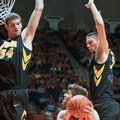 Illinois' Michael Finke (43) is guarded by Iowa center Adam Woodbury (34) and forward Jarrod Uthoff (20) during an NCAA college basketball game in Champaign, Ill., Sunday, Feb. 7, 2016.