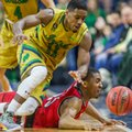 Notre Dame's Demetrius Jackson, top, competes for a loose ball with Louisville's DonovanMitchell (45) during the first half of an NCAA college basketball game, Saturday, Feb. 13, 2016, in South Bend, Ind.