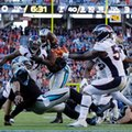 Carolina Panthers' Cam Newton (1) is sacked as Denver Broncos' Von Miller (58) reaches for the ball during the first half of the NFL Super Bowl 50 football game Sunday, Feb. 7, 2016, in Santa Clara, Calif. (AP Photo/Julie Jacobson)