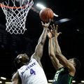 Baylor's Terry Maston (31) and Kansas State's D.J. Johnson (4) compete for a rebound during the first half of an NCAA college basketball game Wednesday, Feb. 10, 2016, in Manhattan, Kan.