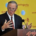 FILE - In this Oct. 13, 2015 file photo Southern California athletic director Pat Haden speaks with the media during a press conference after an NCAA college football practice in Los Angeles. Haden says he will retire on June 30, 2016. USC President Max Nikias made the announcement Friday, Feb. 5, 2016.