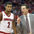 Louisville head coach Rick Pitino, right, talks with Quentin Snider during the second half of an NCAA college basketball game against Boston College, Saturday, Feb. 6, 2016, in Louisville Ky. Louisville won 79-47.
