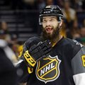 "FILE - In this Sunday, Jan. 31, 2016, file photo, Pacific Division defenseman Brent Burns (88), of the San Jose Sharks, talks with a referee during the NHL hockey All-Star championship game in Nashville, Tenn. When Brent Burns packs his bags for road trips, the Sharks defenseman usually leaves some cosmetic teeth behind. ""I don't wear them often,"" he said. ""I usually find them in a drawer a couple months down the road and put them somewhere safe, forget where that is, and find them a couple months later."" (AP Photo/Mark Humphrey, File)"