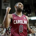 South Carolina's Sindarius Thornwell (0) reacts as the buzzer sounds to end an NCAA college basketball game against Texas A&M, Saturday, Feb. 6, 2016, in College Station, Texas. South Carolina won 81-78.