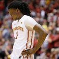 Iowa State forward Jameel McKay reacts at the end of an NCAA college basketball game against West Virginia, Tuesday, Feb. 2, 2016, in Ames, Iowa. West Virginia won 81-76.