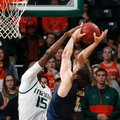 Miami's Ebuka Izundu (15) blocks the shot by Pittsburgh's Rafael Maia (5) during the first half of an NCAA college basketball game in Coral Gables, Fla., Tuesday, Feb. 9, 2016.