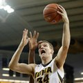 FILE - In this Jan. 24, 2016, file photo, Iowa center Adam Woodbury drives to the basket during the second half of an NCAA college basketball game against Purdue in Iowa City, Iowa. Woodbury, a senior, has been crucial for the Hawkeyes in their best season in decades.