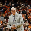 Syracuse coach Jim Boeheim smiles during the team's NCAA college basketball game against Florida State in Syracuse, N.Y., Thursday, Feb, 11, 2016. Syracuse defeated Florida State 85-72.