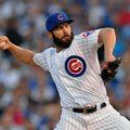 FILE - In this Oct. 12, 2015, file photo, Chicago Cubs starting pitcher Jake Arrieta throws during the first inning of Game 3 in baseball's National League division series against the St. Louis Cardinals in Chicago. A person familiar with the situation says Arrieta has agreed to a $10.7 million, one-year contract, avoiding arbitration with the highest one-year deal for a pitcher with four years of major league service. The person spoke to The Associated Press on Friday night, Feb. 5, 2016, on condition of anonymity because the contract had not been announced by the team. (AP Photo/Paul Beaty, File)
