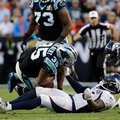 Carolina Panthers' Mike Tolbert (35) fumbles as he is taken down by Denver Broncos' Darian Stewart (26) during the first half of the NFL Super Bowl 50 football game Sunday, Feb. 7, 2016, in Santa Clara, Calif. (AP Photo/Julie Jacobson)