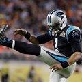 Carolina Panthers' Cam Newton (1) kicks his leg during the second half of the NFL Super Bowl 50 football game Sunday, Feb. 7, 2016, in Santa Clara, Calif. (AP Photo/Julie Jacobson)