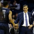 Villanova head coach Jay Wright, right, celebrates with guard Phil Booth during the second half of an NCAA college basketball game against DePaul Tuesday, Feb. 9, 2016, in Rosemont, Ill. Villanova won 86-59.