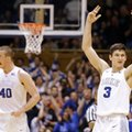 Duke's Grayson Allen (3) and Marshall Plumlee (40) react during the second half of an NCAA college basketball game against Louisville in Durham, N.C., Monday, Feb. 8, 2016. Duke won 72-65.