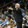 North Carolina head coach Roy Williams questions a call during the first half of an NCAA college basketball game against Boston College, in Boston, Tuesday, Feb. 9, 2016.