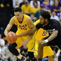 LSU forward Ben Simmons (25) steals the ball from Texas A&M center Tonny Trocha-Morelos, right, in the first half of an NCAA college basketball game in Baton Rouge, La., Saturday, Feb. 13, 2016.