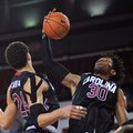 South Carolina forward Chris Silva (30) grabs a rebound during an NCAA college basketball game against Georgia,Tuesday, Feb. 2, 2016, in Athens, Ga.
