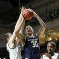 Notre Dame forward Zach Auguste (30) is fouled by as he goes to the basket by Miami forward Ivan Cruz Uceda, left, in the second half of an NCAA college basketball game, Wednesday, Feb.3, 2016, Coral Gables, Fla. Miami won 79-70.