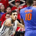 In this Jan. 16, 2016, photo, Mississippi forward Sebastian Saiz (11) defends against Florida forward Dorian Finney-Smith (10) in an NCAA college basketball game in Oxford, Miss. Saiz, barely three weeks removed from eye surgery to repair a partially detached retina, returned to the court Tuesday, Feb. 9 and played for 26 minutes. The Rebels hope their second-leading scorer can provide a boost for the team in the season's final month.