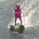 6-month-old skis across lake; parents say it's a record