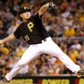 FILE - In this June 20, 2016, file photo, Pittsburgh Pirates relief pitcher Mark Melancon throws against the San Francisco Giants during a baseball game in Pittsburgh. Washington sent reliever Felipe Rivero and pitching prospect Taylor Hearn to the Pirates to acquire Melancon, who supplants the struggling Jonathan Papelbon as Washington's closer. (AP Photo/Keith Srakocic, File)