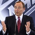FILE - In this June 22, 2016, file photo, NHL Commissioner Gary Bettman speaks during a news conference in Las Vegas. Bettman's reluctance to link hits to the head in hockey with a degenerative brain disease found in several deceased former players has reached Congress. (AP Photo/John Locher, File)