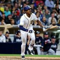 FILE - In this June 7, 2016, file photo, San Diego Padres' Melvin Upton Jr. watches his RBI line-out against the Atlanta Braves during the fifth inning of a baseball game, in San Diego. The Padres have traded left fielder Melvin Upton Jr. to the Toronto Blue Jays for minor league right-hander Hansel Rodriguez. The trade, which continues the Padres' rebuilding, was announced Tuesday morning, July 26, 2016, hours before the Padres played at Toronto in the middle game of a three-game series. (AP Photo/Lenny Ignelzi, File)