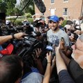 Indianapolis Colts quarterback Andrew Luck speaks with the media after arriving for an NFL football training camp, Tuesday, July 26, 2016, in Anderson, Ind. (AP Photo/Darron Cummings)