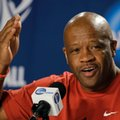 FILE - In this March 20, 2015 file photo, Arkansas head coach Mike Anderson gestures during a news conference at the NCAA college basketball tournament in Jacksonville, Fla. Anderson believes missing the NCAA Tournament last season was an abberation, not a trend. The Razorbacks, loaded with an influx of junior-college talent, will have an early chance to prove their coach correct on a preseason tour of Spain next month.