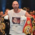 "FILE - In this Nov. 29. 2015, file photo, Britain's new world champion, Tyson Fury, celebrates with the WBA, IBF, WBO and IBO belts after winning the world heavyweight title fight against Ukraine's Wladimir Klitschko in Duesseldorf, western Germany. U.K. Anti-Doping says world heavyweight boxing champion Tyson Fury was provisionally suspended in June after the British fighter tested positive for a banned substance. However, UKAD says in a statement that Fury and his cousin Hughie, a heavyweight boxer who was also suspended, had their bans lifted on Wednesday, Aug. 3, 2016 ""pending full determination of the charges.""  (AP Photo/Martin Meissner, File)"