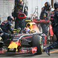 Crew members attend to the car of Red Bull driver Max Verstappen of the Netherlands during a pit stop at the Formula One Grand Prix in Spa-Francorchamps, Belgium, Sunday, Aug. 28, 2016. (AP Photo/Olivier Matthys, Pool)