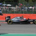 McClaren driver Jenson Button of Britain steers his car during the second practice session at the Belgian Formula One Grand Prix circuit in Spa-Francorchamps, Belgium, Friday, Aug. 26, 2016. The Belgian Formula One Grand Prix will be held on Sunday. (AP Photo/Geert Vanden Wijngaert)