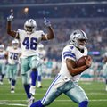 FILE - In this Aug. 19, 2016, file photo, Dallas Cowboys' Dak Prescott (4) runs the ball into the end zone for a touchdown as teammate Alfred Morris (46) celebrates in the first half of an NFL preseason football game agains the Miami Dolphins, in Arlington, Texas. He's giving the Cowboys something to think about for their backup to Tony Romo. (AP Photo/Ron Jenkins, File)