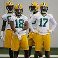 FILE - In this Monday, June 6, 2016 file photo, Green Bay Packers wide receiver Randall Cobb (18) and wide receiver Davante Adams (17) participate in drills during an NFL football practice in Green Bay, Wis. It's a toss-up at receiver for the Green Bay Packers after Jordy Nelson and Randall Cobb. It's a toss-up at receiver for the Green Bay Packers after Jordy Nelson and Randall Cobb. After Nelson and Cobb, the Packers have lots of options. Jared Abbrederis and Davante Adams are both entering their third seasons, while Ty Montgomery is going into his second year. (AP Photo/Matt Ludtke, File)