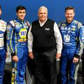 FILE - In this Jan. 21. 2016, file photo, Hendrick Motorsports team owner Rick Hendrick , center, poses with his drivers from left to right, Jimmie Johnson, Chase Elliott, Dale Earnhardt Jr. and Kasey Kahne during the NASCAR Charlotte Motor Speedway Media Tour in Charlotte, N.C. Keeping a dynasty seems even more challenging than creating one. Just ask Hall of Fame car owner Rick Hendrick. The NASCAR titan has fielded 11 Sprint Cup champions over the past 21 years, won 242 Sprint Cup races and just two seasons ago had all four of his star drivers_ Jimmie Johnson, Jeff Gordon, Dale Earnhardt Jr. and Kasey Kahne _ in the 16-team championship chase. (AP Photo/Mike McCarn, File)
