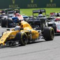 Renault driver Kevin Magnussen of Denmark, front, steers his car during the Belgian Formula One Grand Prix in Spa-Francorchamps, Belgium, Sunday, Aug. 28, 2016. (AP Photo/Geert Vanden Wijngaert)