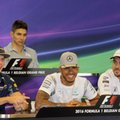 Mercedes driver Lewis Hamilton of Britain, front center,smiles as he participates in a media conference with, from left, Red Bull driver Max Verstappen of the Netherlands, Manor Racing driver Esteban Ocon of France and McClaren driver Fernando Alonso of Spain at the Belgian Formula One Grand Prix circuit in Spa-Francorchamps, Belgium, Thursday, Aug. 25, 2016. The Belgium Formula One Grand Prix will be held on Sunday. (AP Photo/Olivier Matthys)