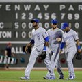 Kansas City Royals outfielders Lorenzo Cain (6), Alex Gordon (4) and Jarrod Dyson (1) walk to the dugout after they defeated the Boston Red Sox 6-3 in a baseball game at Fenway Park, Friday, Aug. 26, 2016, in Boston. (AP Photo/Elise Amendola)