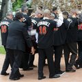 Pallbearers wear a No. 16 jersey in honor of Miami Marlins pitcher Jose Fernandez as they carry his casket for a memorial service at St. Brendan's Catholic Church, Thursday, Sept. 29, 2016, in Miami. Fernandez was killed in a boating accident Sunday along with two friends. (AP Photo/Lynne Sladky)