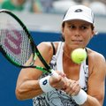 """FILE - In this Sept. 3, 2016, file photo, Varvara Lepchenko, of the United States, returns a shot to Ana Konjuh, of Croatia, during the third round of the U.S. Open tennis tournament in New York. Lepchenko tested positive four times for meldonium, according to the International Tennis Federation, which cleared her because it was determined she took the substance before its ban went into effect on Jan. 1. The ITF announced Tuesday, Sept. 20, 2016, that Lepchenko had been provisionally suspended in March but it was later determined that she """"bore no fault or negligence for the violation."""" (AP Photo/Alex Brandon, File)"""