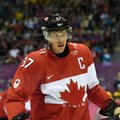 """FILE - In this Feb. 23, 2014, file photo, Canada's Sidney Crosby skates during the first period of the men's gold medal final hockey match against Sweden at the Sochi Winter Olympics in Russia. Canada has chosen Crosby as its captain for the upcoming World Cup of Hockey. Crosby returns as Canada's captain after wearing the """"C'' for the 2014 Sochi Olympics. (AP Photo/Paul Chiasson, The Canadian Press, File)"""
