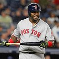 Boston Red Sox designated hitter David Ortiz reacts after flying out to deep center field in the sixth inning of a baseball game against the New York Yankees in New York, Wednesday, Sept. 28, 2016. (AP Photo/Kathy Willens)